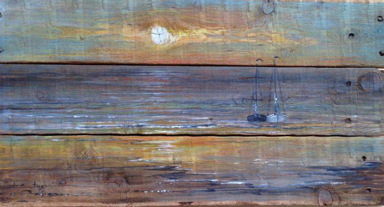 Acryl op oud hout, 30x60cm, verkocht